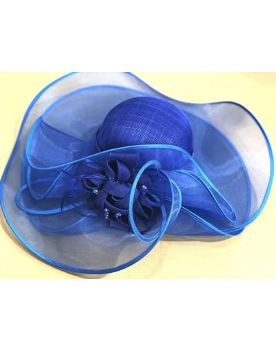 Chapeau mariage bleu royal