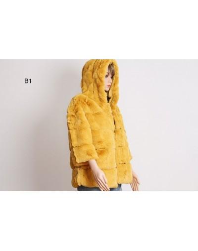 Manteau manche 3/4 à capuche