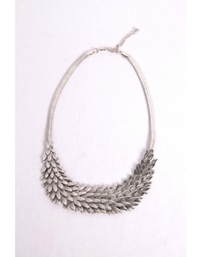 Collier à plume en métal